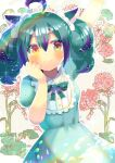 1girl ahoge animal_ears arm_up blush bow brown_eyes cat_ears character_request closed_mouth collared_dress commentary_request dress ear_bow floral_background green_bow green_dress green_hair hand_up heterochromia indie_virtual_youtuber kouu_hiyoyo looking_at_viewer multicolored_hair puffy_short_sleeves puffy_sleeves purple_hair short_sleeves smile solo streaked_hair virtual_youtuber white_bow yellow_eyes