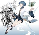 1boy bangs blue_hair blue_shorts book boots chinese_clothes commentary_request earrings fish floating floating_book floating_object frilled_shirt_collar frilled_sleeves frills full_body genshin_impact high_heels highres ink_wash_painting jacket jewelry liquid_weapon long_sleeves looking_at_viewer male_focus open_book open_mouth palette_swap short_hair shorts simple_background single_earring smile solo tassel tassel_earrings vision_(genshin_impact) xingqiu_(genshin_impact) yellow_eyes yoko_(nz_g)