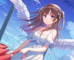 1girl bangs bare_shoulders blue_eyes blush brown_hair choker clothing_cutout collarbone commentary_request day dress eyebrows_visible_through_hair feathered_wings fukahire_(ruinon) holding holding_umbrella original short_sleeves shoulder_cutout sky smile solo two_side_up umbrella utility_pole white_choker white_dress white_wings wings