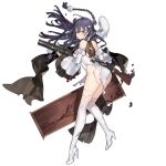 1girl 2021 ass back bangs bare_shoulders beret blue_hair blush braid breasts brown_eyes character_name chinese_new_year closed_mouth commentary copyright_name dress english_commentary english_text eyebrows_visible_through_hair girls_frontline gun hair_ornament hat hat_removed headwear_removed high_heels highres holding holding_weapon lewis_(girls_frontline) lewis_gun long_hair looking_at_viewer machine_gun official_art russian_commentary solo standing starshadowmagician tears thigh-highs thighs torn_clothes torn_dress torn_legwear weapon white_dress white_footwear white_headwear white_legwear