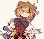 angry armor black_shirt blonde_hair cracked_skin double_bun dress hair_ribbon hand_on_hip haniwa_(statue) head_scarf highres joutouguu_mayumi ma_sakasama magatama magatama_necklace puffy_short_sleeves puffy_sleeves red_ribbon ribbon shirt short_sleeves sword touhou vambraces weapon white_ribbon wily_beast_and_weakest_creature yellow_dress yellow_eyes
