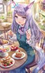 1girl animal_ears aqua_dress blue_dress cake cake_stand carrot chair dress food fork fruit hair_ornament highres horse_girl mejiro_mcqueen_(umamusume) open_mouth purple_hair ribbon shirt sitting smile solo strawberry table tail torino_akua umamusume violet_eyes white_shirt