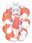 1girl :p absurdres animal_ear_fluff animal_ears blue_eyes blue_hair fox_ears fox_girl fox_tail hair_bobbles hair_ornament highres hikimayu kmwh looking_at_viewer multiple_tails no_panties original petite see-through_dress see-through_sleeves sidelocks signature simple_background solo tabard tail tongue tongue_out white_background