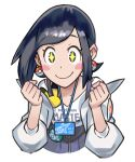 1girl badge black_eyes black_hair blue_skirt blush_stickers body_blush button_badge character_badge clenched_hands clothes_writing collarbone copyright_name earrings gen_1_pokemon gen_2_pokemon hair_behind_ear id_card jacket jewelry kana_(pokemon) off_shoulder official_art open_clothes open_jacket pikachu poke_ball_earrings poke_ball_print poke_ball_symbol poke_ball_theme pokemon pokemon_(game) pokemon_masters_ex porygon2 shiny shiny_hair shirt skirt smile solo sparkling_eyes star_(symbol) star_print suspender_skirt suspenders upper_body white_background white_jacket white_shirt zipper_pull_tab