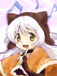 1girl 2018 animal_ears beamed_sixteenth_notes beanie black_gloves blurry blurry_background brown_headwear capelet choker collarbone dot_nose eighth_note elbow_gloves eyebrows_visible_through_hair fake_animal_ears fingerless_gloves floating_hair fur-trimmed_capelet fur_trim gloves hand_up happy hat index_finger_raised light_blush long_hair looking_at_viewer mahou_shoujo_madoka_magica mahou_shoujo_madoka_magica_movie momoe_nagisa multicolored multicolored_eyes musical_note musical_note_background open_mouth orange_capelet orange_eyes purple_background ringed_eyes signature smile solo suspenders taniguchi_jun'ichirou tareme upper_body white_hair yellow_eyes