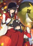 2girls bangs bead_necklace beads black_gloves black_hair blunt_bangs blurry bokeh closed_mouth commentary confetti depth_of_field gloves hair_ornament hakama highres hinoa japanese_clothes jewelry kimono lap_pillow light_smile long_hair looking_at_viewer minoto monster_hunter_(series) monster_hunter_rise multiple_girls necklace parasol pointy_ears red_hakama rope shade siblings sidelocks sisters sitting smile straight_hair sunlight suusuke twins umbrella white_kimono wide_sleeves yellow_eyes