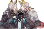 1other 2boys ? animal_ears arknights badge beard black_gloves black_jacket black_ribbon blood blood_stain chinese_commentary coat coat_on_shoulders commentary_request doctor_(arknights) dual_persona eye_contact facial_hair gloves grey_hair hair_ribbon hellagur_(arknights) high_collar highres holding_hand hood hood_up hooded_jacket jacket long_hair long_sleeves looking_at_another multiple_boys mustache official_alternate_costume ponytail ribbon simple_background sketch sora1019 spoken_question_mark sweatdrop torn_clothes torn_coat upper_body white_background wrist_grab yellow_eyes
