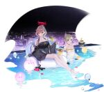 2girls anklet azur_lane bare_shoulders barefoot bikini black_bow black_swimsuit blue_hair blush bow breasts brown_hair building city closed_mouth collarbone covered_navel duca_degli_abruzzi_(azur_lane) duca_degli_abruzzi_(lustrous_onyx_sirenetta)_(azur_lane) fingernails flower food fruit grey_hair highres holding in_water jacket jewelry large_breasts leaf looking_at_viewer manjuu_(azur_lane) mechanical_arms medium_breasts multicolored_hair multiple_girls necktie official_art ohisashiburi one-piece_swimsuit open_mouth partially_submerged petals pool prosthesis prosthetic_arm red_eyes red_nails redhead see-through shiny shiny_hair short_hair short_twintails single_mechanical_arm sitting smile sunglasses swimming swimsuit tied_hair toes transparent_background tray twintails water wet yellow_bikini