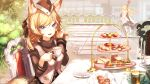 2girls :d animal_ear_fluff animal_ears arknights armor bangs black_gloves black_headwear black_ribbon black_sweater blemishine_(arknights) blonde_hair blue_eyes breasts cake cape chair closed_mouth commentary_request cup eyebrows_visible_through_hair fang food fur-trimmed_cape fur_trim garrison_cap gloves hair_between_eyes hair_ribbon hat hellnyaa highres horse_ears horse_girl horse_tail long_hair long_sleeves looking_at_viewer multiple_girls open_mouth outdoors plate ribbon sitting skin_fang smile solo_focus spoon stairs sweater sweets table tail tea tea_party teacup teapot turtleneck turtleneck_sweater upper_body vest whislash_(arknights) white_cape white_vest