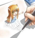 +_+ 1girl :d absurdres animal_ears bangs barefoot book child drawing dress eyebrows_visible_through_hair full_body greenteaneko grey_dress highres holding holding_pen long_hair looking_at_another off-shoulder_dress off_shoulder open_mouth orange_hair original paper pen smile tail yellow_eyes