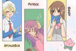 anime_girl book brown_hair burger hat humans nickelodeon patrick_star pink_hair red_tie sandy_cheeks spongebob_squarepants spongebob_squarepants_(character) star yellow_hair