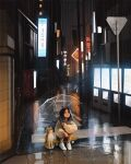 1girl baggy_clothes black_hair city_lights completion_time dog english_commentary highres legs_together looking_up medium_hair neon_lights original rain reflective_water sam_yang_(samdoesarts) shiba_inu shoes sitting skateboard sneakers squatting umbrella white_footwear
