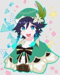 1boy androgynous bangs beret black_hair blue_eyes blue_hair bow braid brooch cape chikibuta0222 collared_cape collared_shirt commentary_request corset flower gem genshin_impact gradient_hair green_eyes green_headwear grey_background hat hat_flower highres jewelry leaf looking_at_viewer male_focus multicolored_hair open_mouth shirt short_hair_with_long_locks simple_background smile solo square star_(symbol) triangle twin_braids venti_(genshin_impact) white_flower white_shirt