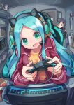2girls :d absurdres animal_ears bag_of_chips bangs black_hair blue_hair braid brown_shirt chair character_request chips collarbone controller eyebrows_visible_through_hair fake_animal_ears food forehead game_controller green_eyes head_tilt headphones headset highres holding indoors jacket keyboard_(computer) kuuron_(moesann17) long_hair monitor multiple_girls office_chair on_chair open_clothes open_door open_jacket open_mouth pants parted_bangs potato_chips puzzle_&_dragons red_jacket shirt smile solo_focus track_jacket track_pants track_suit v-shaped_eyebrows very_long_hair