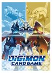 arm_cannon armor cape closed_mouth commentary_request company_name copyright_name digimon digimon_(creature) digimon_crest english_text glowing green_eyes horns logo looking_at_viewer looking_to_the_side mecha metalgarurumon no_humans number official_art omegamon open_mouth red_cape sasasi sharp_teeth shoulder_armor split_screen standing teeth two-sided_cape two-sided_fabric wargreymon weapon white_cape