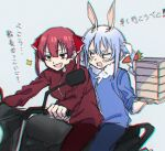 animal_ears chromatic_aberration container don-chan_(usada_pekora) food ground_vehicle hololive homura910210 houshou_marine hug hug_from_behind jacket long_hair long_sleeves motor_vehicle motorcycle multiple_girls pants rabbit_ears redhead translation_request twintails usada_pekora virtual_youtuber