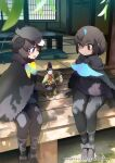 2girls architecture ballet_slippers bird_girl bird_wings black_cape black_footwear black_fur black_gloves black_hair black_legwear black_sweater blue_hair blue_neckwear bow bowtie cape commentary_request doll east_asian_architecture fur_collar gloves greater_lophorina_(kemono_friends) head_wings highlights kemono_friends kemono_friends_3 leggings long_sleeves multicolored_hair multiple_girls official_art saltlaver short_hair sitting sweater western_parotia_(kemono_friends) white_hair wings yellow_neckwear