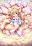 1girl absurdres ahoge animal_ears aqua_eyes bangs casual commentary_request eyebrows_visible_through_hair eyes_visible_through_hair fluffy fox_ears fox_girl fox_tail highres holding holding_brush large_tail light_brown_hair long_hair long_sleeves looking_at_viewer macaroni710 multiple_tails original sidelocks sitting solo tail tail_brushing too_much_fluff