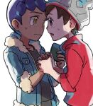 2boys beanie black_shirt blue_jacket blush brown_eyes brown_hair cable_knit commentary_request dark_skin dark_skinned_male eye_contact face-to-face fur-trimmed_jacket fur_trim grey_headwear hat holding_hand hop_(pokemon) jacket looking_at_another male_focus multiple_boys open_mouth pokemon pokemon_(game) pokemon_swsh purple_hair red_shirt shirt short_hair simple_background suruga_dbh sweatdrop victor_(pokemon) white_background yellow_eyes
