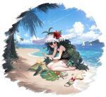 1girl azur_lane bare_shoulders barefoot beach bikini black_bikini blush boat bow byulzzi clouds day feet flower green_hair hat hat_flower heart highres leg_tattoo long_hair looking_at_viewer manjuu_(azur_lane) mountain ocean official_alternate_costume official_art open_mouth outdoors palm_tree red_bow red_eyes red_flower sailboat sandals see-through shadow shell sitting sky smile soles solo straw_hat sun_hat swimsuit tattoo thigh_tattoo toes torricelli_(azur_lane) torricelli_(shady_seaside)_(azur_lane) transparent_background tree turtle wariza water watercraft