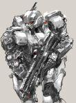 grey_background gun highres holding holding_gun holding_weapon kidou_keisatsu_patlabor leaning_forward looking_ahead mecha mecha_request no_humans osakana_(denpa_yun'yun) radio_antenna science_fiction solo weapon