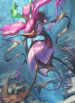 air_bubble blurry bubble closed_mouth commentary_request dragalge gen_6_pokemon highres looking_to_the_side no_humans poison pokemon pokemon_(creature) spareribs underwater