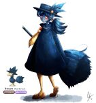 1girl bangs blue_hair blue_skin blush bright_pupils broom brown_footwear closed_mouth colored_skin commentary creature_and_personification endifi english_commentary eyebrows_visible_through_hair from_behind full_body gen_2_pokemon half-closed_eyes hat hat_feather heart highres long_hair looking_at_viewer murkrow numbered pantyhose personification pokemon pokemon_(creature) ponytail red_eyes shoes signature simple_background smile standing white_background white_pupils yellow_legwear yellow_neckwear