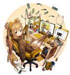 1girl artist_name bishoujo_senshi_sailor_moon blush brown_eyes brown_hair brown_jacket brown_legwear brown_skirt can cellphone chair charm_(object) chopsticks coin computer_tower controller dog_food doge dollar_bill elon_musk eyebrows_visible_through_hair figure game_controller gaming_chair hair_ornament hair_ribbon headphones highres holding holding_leash instant_ramen jacket keyboard_(computer) lamp leash legs_up long_hair looking_at_viewer looking_back mat monitor mouse_(computer) no_shoes original pen phone pleated_skirt ribbon rinotuna sailor_mars shiba_inu simple_background skirt smartphone smile soda_can solo speaker stuffed_toy thigh-highs trash_can twintails white_ribbon youtube zettai_ryouiki