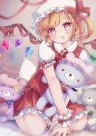 1girl :o apron arm_support ascot back_bow bangs blonde_hair blurry blurry_background blush book bow brooch character_doll commentary_request crescent crescent_hat_ornament crystal depth_of_field eyebrows_visible_through_hair fang flandre_scarlet green_neckwear hat hat_bow hat_ornament heart heart-shaped_pupils highres holding holding_book holding_stuffed_toy izayoi_sakuya jewelry leaning_forward looking_at_viewer maid_headdress mob_cap nail_polish one_side_up open_mouth patchouli_knowledge petticoat pink_eyes pink_headwear puffy_short_sleeves puffy_sleeves red_bow red_nails red_neckwear red_skirt red_vest remilia_scarlet short_hair short_sleeves simple_background sitting skin_fang skirt solo stuffed_animal stuffed_toy suzukkyu swept_bangs symbol-shaped_pupils teddy_bear touhou v_arms vest waist_apron wariza white_apron white_background white_bow wings yellow_neckwear