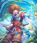 1boy :d absurdres ahoge armor blue_eyes blue_sky breastplate brown_gloves brown_hair brown_shorts day gloves grass hair_between_eyes highres holding holding_sword holding_weapon jacket leaf looking_at_viewer magic male_focus medium_hair open_mouth original outdoors red_jacket shichigatsu shirt shorts sky smile solo standing sword weapon white_shirt