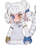 1girl animal_ears animal_print arms_at_sides bangs blush byakko_(kemono_friends) cat_girl chibi closed_mouth commentary_request crying crying_with_eyes_open eyebrows_visible_through_hair highres japari_symbol kemono_friends kemono_friends_3 long_sleeves medium_hair multicolored_hair necktie nose_blush notora pleated_skirt shirt simple_background skirt snot solo striped_tail sweater_vest tail tail_ornament tail_raised tears tiger_ears tiger_girl tiger_print tiger_tail two-tone_hair two_side_up unhappy white_background white_tiger_print