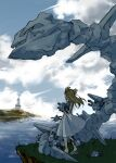1girl bangs building clouds cloudy_sky dress from_side full_body gen_1_pokemon gen_2_pokemon grass highres hinase_kaguya holding island jasmine_(pokemon) long_hair magnemite magnet pokemon pokemon_(creature) sandals shade sky solid_circle_eyes standing steelix twintails two_side_up water white_dress