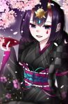 1girl absurdres bangs black_kimono bob_cut breasts cherry_blossoms cup eyeliner fate/grand_order fate_(series) floral_print headpiece highres horn_ornament horn_ring horns japanese_clothes kimono long_sleeves looking_at_viewer lostroom_outfit_(fate) makeup obi oni oni_horns open_mouth purple_hair sakazuki sash short_hair shuten_douji_(fate) skin-covered_horns small_breasts smile violet_eyes wide_sleeves yurumochi