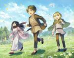 1girl 2boys :d animal armin_arlert bird black_eyes black_hair blonde_hair blue_eyes brown_footwear brown_hair brown_jacket brown_pants clenched_hand clenched_hands cloak clouds commentary_request covered_mouth cross-laced_clothes day dress eren_yeager flower fushitasu grass green_eyes jacket long_hair long_sleeves mikasa_ackerman multiple_boys open_mouth outdoors pants petals pink_jacket running scarf shingeki_no_kyojin short_hair smile tareme tree tunic white_dress younger