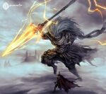 abyss_watcher armor cape clouds cloudy_sky crown daemonstar dark_souls_iii dual_wielding english_commentary holding holding_spear holding_weapon jumping knife long_hair nameless_king overcast polearm signature size_difference sky souls_(from_software) spear sword weapon white_hair wind