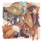 amigasa animal animal_focus artist_name border clothed_animal clothing_request commentary fox fox_mask hat highres japanese_clothes looking_at_viewer mask mouth_hold no_humans original pipe straw_hat symbol_commentary tonbippo08 twitter_username white_border
