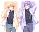 2boys :p absurdres black_shirt blonde_hair collared_shirt cowboy_shot earrings gradient_hair green_shorts grey_neckwear grey_ribbon grey_shorts hand_up head_tilt highres jacket jewelry kamishiro_rui looking_at_viewer male_focus multicolored_hair multiple_boys neck_ribbon open_clothes open_jacket parted_lips project_sekai purple_hair purple_jacket purple_neckwear purple_ribbon redhead ribbon sekina shirt short_hair shorts smile standing streaked_hair stud_earrings suspenders tenma_tsukasa tongue tongue_out wing_collar yellow_eyes yellow_jacket