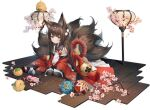 1girl akagi_(azur_lane) amagi-chan_(azur_lane) amagi_(azur_lane) animal_ears azur_lane bare_shoulders brown_hair brown_tail character_doll douya_(233) fox_ears fox_tail highres japanese_clothes kaga_(azur_lane) kimono kitsune kyuubi long_hair looking_at_viewer manjuu_(azur_lane) multiple_tails off-shoulder_kimono official_art pantyhose red_kimono solo tail transparent_background twintails violet_eyes