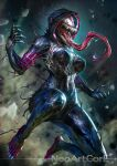1girl ann_weying artist_name blurry blurry_background breasts character_request check_character claws hood hood_up large_breasts lips long_tongue marvel neoartcore open_mouth patreon_username saliva sharp_teeth she-venom solo spider-man_(series) symbiote teeth tongue watermark
