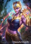 1girl aqua_eyes artist_name avengers avengers:_infinity_war breasts cowboy_shot genderswap genderswap_(mtf) infinity_gauntlet infinity_gems large_breasts looking_at_viewer marvel midriff navel neoartcore parted_lips smile solo thanos watermark web_address