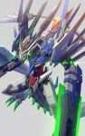 00_raiser arm_blade dragon from_above glowing glowing_eyes green_eyes grey_background gundam gundam_00 highres kenko_(a143016) mecha mechanical_tail no_humans open_mouth redesign science_fiction solo tail weapon