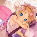 1boy blonde_hair blue_eyes blush covering_mouth highres kagamine_len korpokkur_kne looking_at_viewer paper short_hair sitting solo vocaloid yellow_nails