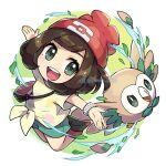 1girl :d bangs beanie blush bracelet brown_hair eyelashes floral_print gen_7_pokemon green_eyes green_shorts hat jewelry mixed-language_commentary open_mouth outstretched_arms peron_(niki2ki884) pokemon pokemon_(creature) pokemon_(game) pokemon_sm red_headwear rowlet selene_(pokemon) shirt shoes short_sleeves shorts smile starter_pokemon t-shirt tied_shirt tongue upper_teeth z-ring