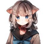1girl absurdres animal_ear_fluff animal_ears bangs black_sailor_collar blue_bow blue_eyes blush bow brown_hair brown_shirt cat_ears closed_mouth collar eyebrows_visible_through_hair hair_ornament hairclip heripiro highres looking_at_viewer original red_collar sailor_collar school_uniform serafuku shirt signature simple_background solo white_background