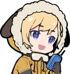 1girl alternate_costume animal_ears blonde_hair blue_eyes chibi dog_ears drawstring eyebrows_visible_through_hair goggles goggles_around_neck hololive hololive_english multicolored multicolored_eyes ninomae_ina'nis_(artist) open_mouth parka pink_eyes talking_on_phone walkie-talkie watson_amelia