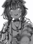 1girl :d animal_collar animal_ears blood blood_splatter blush bone_hair_ornament braid bright_pupils collar dog_ears greyscale hair_ornament hand_up head_tilt highres hololive inugami_korone jacket looking_at_viewer monochrome nanashi_(nlo) open_clothes open_jacket open_mouth simple_background smile solo twin_braids upper_body white_background wide-eyed