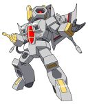 1980s_(style) 1boy aircraft airplane beni_(nikaidera) decepticon fighter_jet jet military military_vehicle nitro_zeus one-eyed open_hand pose red_eyes retro_artstyle simple_background solo transformers transformers:_the_last_knight transformers_(live_action) weapon white_background wings