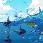 air_bubble artist_name bubble closed_mouth clouds day designer_ojisan from_side gen_1_pokemon gen_2_pokemon gen_3_pokemon highres horsea huntail kingdra luvdisc no_humans outdoors partially_underwater_shot pokemon pokemon_(creature) red_eyes sharpedo sky water_drop watermark