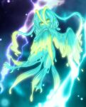 1girl blue_hair blue_skin claws colored_skin completely_nude curss electricity fang flying harpy highres looking_at_viewer monster_girl nude original skin_fang slime_girl smile solo tail yellow_eyes yellow_skin