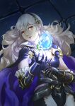 1girl alternate_costume armor bangs breasts collared_shirt corrin_(fire_emblem) corrin_(fire_emblem)_(female) fire_emblem fire_emblem_fates fire_emblem_heroes gloves hairband holding holding_weapon long_hair official_alternate_costume pointy_ears red_eyes shirt upper_body vidolus weapon white_hair